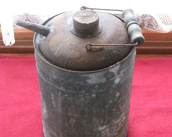 Sale - Galvanized  Oil Can with Wooden Handle, Vintage