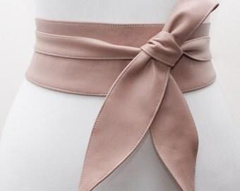 Nude Leather Obi Belt tulip tie| Wedding Outfit | Bridesmaids belt | Waist Belt | Petite to Plus Size belts | Nude leather corset belt