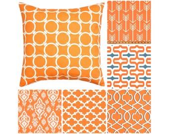"Orange Throw Pillow Cover.Orange Grey Toss Pillows.Decorative Pillow.Moroccan Pillows.Lattice Pillows.16""x16"",18""x18"".Any Size"