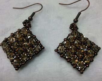 Swarovski Crystal Earrings, Right Angle Weave, Seed Beads