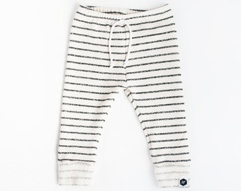 Cream Skinny Sweats with Charcoal Stripes