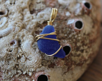 Royal Blue and Gold Sea Glass Jewelry Pendant