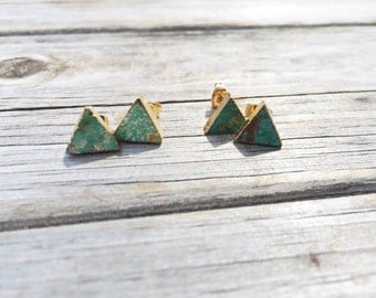 Natural Turquoise Triangle earrings, Natural Stone stud earrings, stud earrings, cabochon earrings