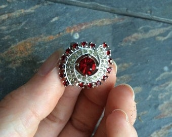 Vintage Red Ring, costume ring, size 7 ring