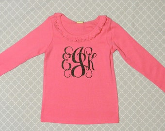 Personalized Shirt! (Hot Pink with Black Glitter)