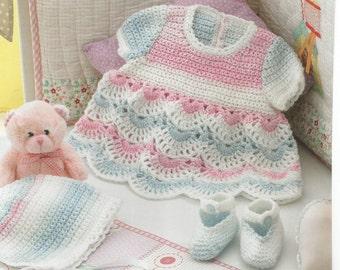 Instant Download PDF - Pretty Rainbow Dress Set Crochet Pattern (D17)