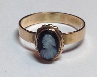 Vintage Victorian Era 14k Rose Gold Black Onyx Bezel Set Cameo
