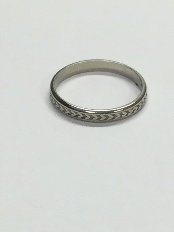 Vintage 10k White Gold Baby Pinky Stackable Band Ring Signed
