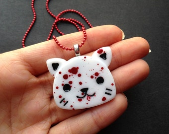 Creepy Cute Bloody Cat Necklace / Kitty Necklace / Guro Lolita / Goth