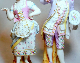 Tall Bisque Heubach Style Figurine Statue Pair (2), Vintage