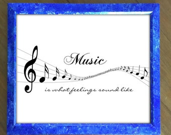 Music Staff and Notes with quote Music is What Feelings Sound Like. Black and white music print. Print for Art Lover. Gift for Music Lover