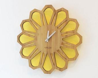 Bamboo Retro Sunburst Wall Clock  - 70s Floral T. Yellow