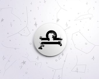 Libra zodiac one-inch pinback button badge - small pin