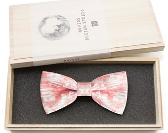 Pink line Bowtie - birthday gift, Toddler Bowtie Toddler Bow tie, Groomsmen bow tie, Pre Tied and Adjustable, Novioshk, H0210