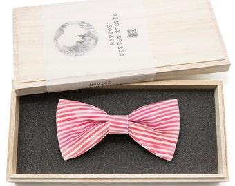 Red Stripes Bowtie - Modern Boys Bowtie, Toddler Bowtie Toddler Bow tie, Groomsmen bow tie, Pre Tied and AdjustableNovioshk, H0205