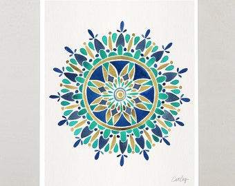 "Mandala – Signed Watercolor Painting Print by CatCoq. Artwork Printed on 8.5""x11"" High-Quality Archival Epson Paper. Zen, pattern, wall art"