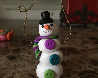 Whimsical Polymer Clay Snowman Ornament