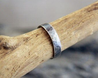 Rustic Silver Man's Ring, Silver Men's Band, Simple Sterling Silver Man's Ring, Hammered Man's Ring