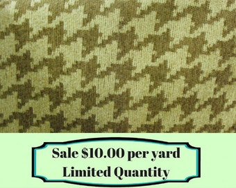 FABRIC SALE!!! Light Brown and Cream Houndstooth Upholstery Fabric - Home Decor Fabric By The Yard