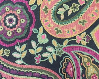 Hot Pink, Orange, Green, Dark Brown - Large Scale Paisley Upholstery Fabric - Upholstery Fabric By The Yard