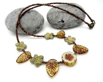 Czech Glass Necklace, Vintage Style Czech Glass Necklace, Ladies Necklace, Daisy Necklace, Leaf Necklace, Sage Green Necklace,