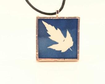Pressed Leaf Cyanotype Pendant