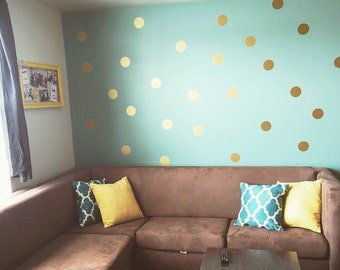 "Vinyl Wall Sticker Decal Art - 4"" Polka Dots in METALLIC GOLD"