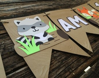 I Am One Woodland Party Banner - High Chair Banner, Baby Shower, Birthday Party, Fox Party, First Birthday, Photo Prop