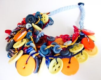 Crochet necklace with colorful buttons-SOLD