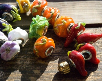 "Handmade lampwork beads european style ""Culinary secrets"". Glass vegetable european beads: garlic, pepper, eggplant, cabbage, onion, pumpkin"