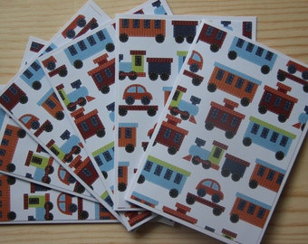 Train Note Card Set.  12 Choo Choo Train Blank Cards.  Train Thank You Cards.  Train Birthday Cards. Train Party Invitations. Boy Note Cards
