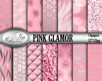 Pink digital paper, GLAMOR backgrounds, romantic textures patterns, Instant Download