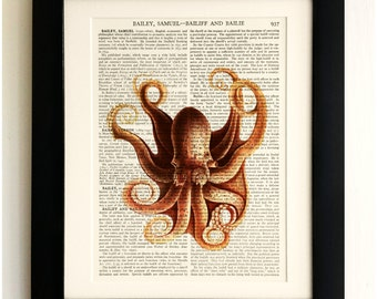 FRAMED ART PRINT on old antique book page - Red Octopus, Vintage Wall Art Print Encyclopaedia Dictionary Page