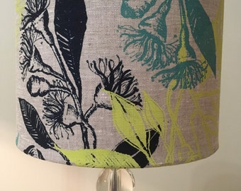 Screen printed lamp shade, eucalyptus screen print lamp shade, hand printed lamp shade