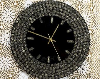 Wall Clock Handmade Fused Glass Designer Clock Round Black Gold