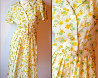 50s Vintage White Floral Double Breasted Button Dress