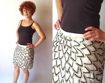 Black and White Sequins Mini Skirt