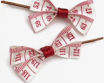 Red and White Tape Measure Hair Bows, Duo of Little Bobby Pin Hair Slides!