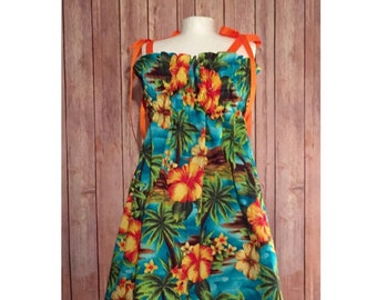 Children's Luau Dress, Baby Hawaiian Outfit, Girl's Tropical Dress, Girl's Tiki Dress, Hawaiian Luau Dress