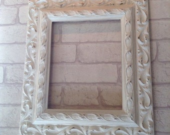 "Vintage Ornate Antique Style Picture Frame Shabby Chic Chalk Cream White Duck Egg Many More. Choose Your Size A3 A4  10 x 8"" 14 x 11"" 20 x 1"