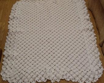 White Diamond Blanket, White Baby Blanket, Dressy Baby Blanket