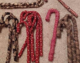 Homespun primitive candy canes for hanging decorations