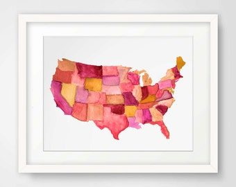 Map of America--Watercolor Print in Reds