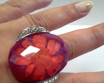 Steel Ring woman with big stone burgundy