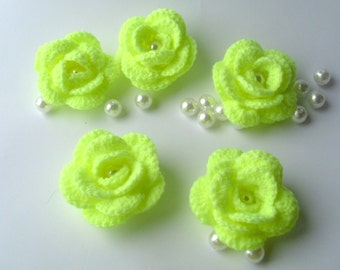 Crochet Flowers, 5 Rouse Flower with pearl, Flower set, lime rose
