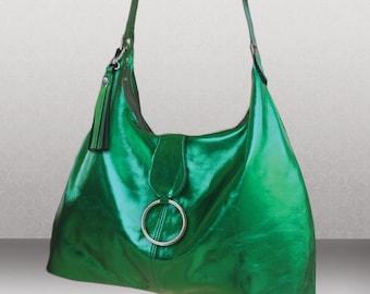 Womens Large metallic green Italian Hobo, green bag, green leather hobo, soft leather bag, premium leather bag, Womens bag, Ladies green bag
