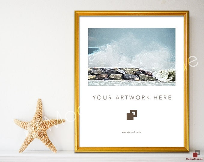 8x10 GOLD FRAME MOCKUP // Empty Frame Mockup // Gold Mockup with Books Flowers // Empty Gold Frame Mockup // Gold Mockup Photo / Gold Mockup