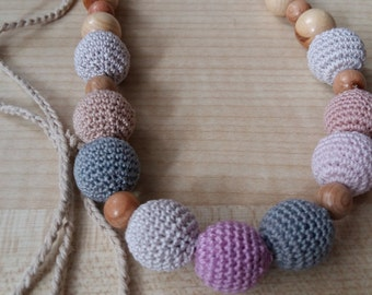 Crochet necklace.Nursing Teething Necklace.Breastfeeding.Ecofrendly.Natural necklace.Crochet jewerly.Juniper.