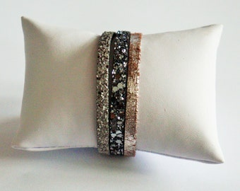 3 Cuff Bracelet links glittery silver gradient leather