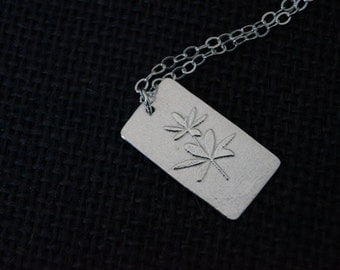 Sterling Silver Flower pendant and necklace - Handmade Recycled Sterling Silver - Embossed Flower Pendant -  Sterling Silver Flower Necklace